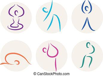 Los iconos del palo Yoga o símbolos aislados en blanco