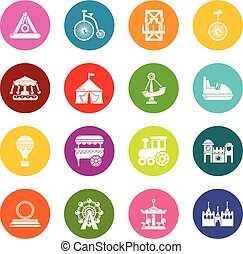 Los iconos del parque de atracciones marcan el colorido vector de los círculos