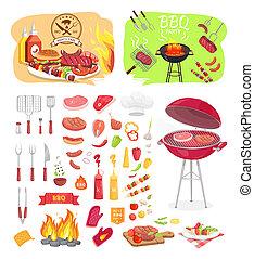 Los iconos del partido BBQ marcan la ilustración del vector