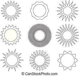 Los iconos del sol delgados