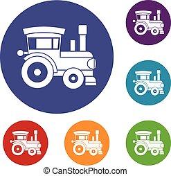 Los iconos del tren de juguete listos