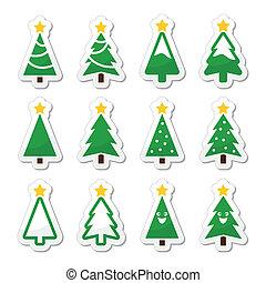 Los iconos del vector de árbol de Navidad