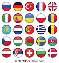 Los iconos europeos rodean banderas