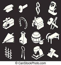 Los iconos herreros marcan el vector gris
