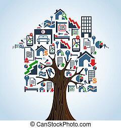 Los iconos inmobiliarios, la casa de los árboles, el concepto de alquiler.