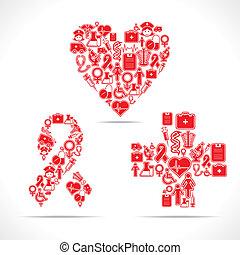 Los iconos médicos hacen corazón, SIDA, cruz