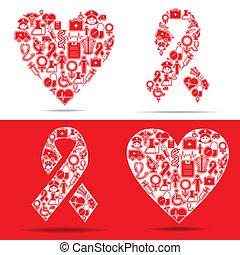 Los iconos médicos hacen un corazón y el SIDA