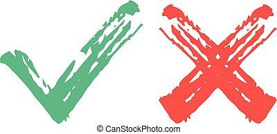 Los iconos marcan las marcas de las manos. Marcas de garrapatas verdes y marcas de cruces rojas. Ilustración de vectores