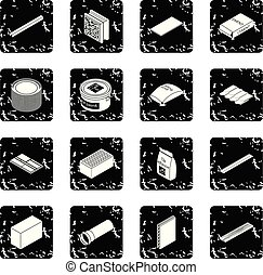 Los iconos materiales de construcción establecen vector grunge