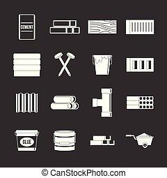Los iconos materiales de construcción marcan el vector gris