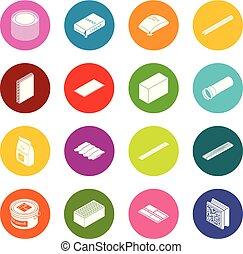 Los iconos materiales de construcción marcan vectores coloridos