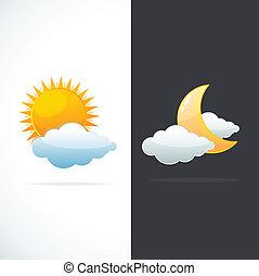 Los iconos meteorológicos son sol y luna