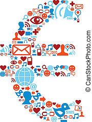 Los iconos sociales de los medios de comunicación están en el símbolo del euro