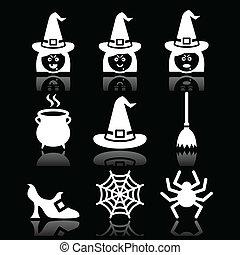 Los iconos vectoriales de brujas de Halloween