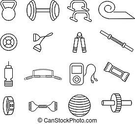 Los iconos vectoriales de la línea de vectores son un tema de fitness