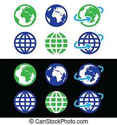 Los iconos vectoriales del Globe en color