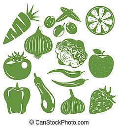Los iconos verdes de comida