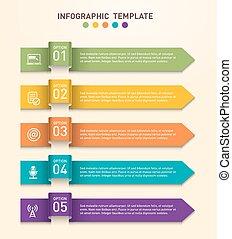 Los infográficos de negocios se integran con cinco opciones diferentes representadas por flechas