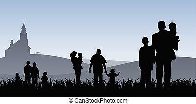 Los jóvenes con niños van a ilustrar el vector de la iglesia