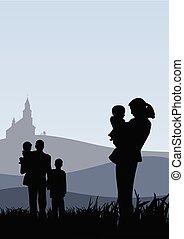 Los jóvenes con niños van al vector de la iglesia ilustración católica