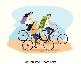 Los jóvenes montando en bicicleta personaje avatar