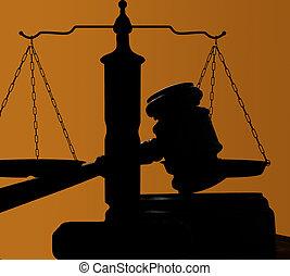 Los jueces del tribunal dan silueta en el fondo azul