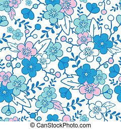 Los kimonos azules y rosados florecen en un fondo sin manchas