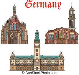 Los lugares de viaje alemanes son íconos de iglesia, ayuntamiento
