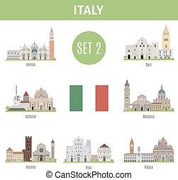 Los lugares famosos son ciudades italianas. Set 2
