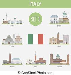 Los lugares famosos son ciudades italianas. Set 3