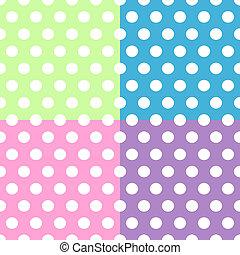 Los lunares blancos sin sensatez tienen un patrón sobre cuadrados coloridos