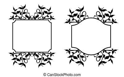 Los marcos de flora, los brotes de planta adornan el marco