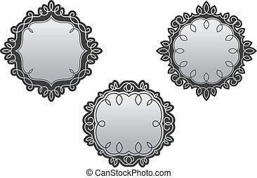 Los marcos retro con adornos antiguos