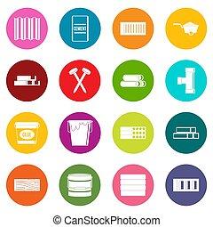 Los materiales de construcción iconos de muchos colores