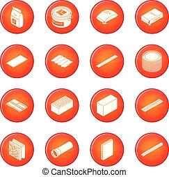 Los materiales de construcción marcan vector rojo