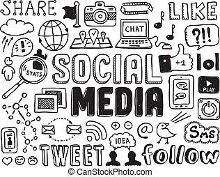 Los medios sociales dibujan elementos