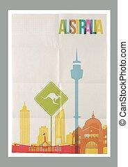 Los monumentos de Australia para el afiche vintage