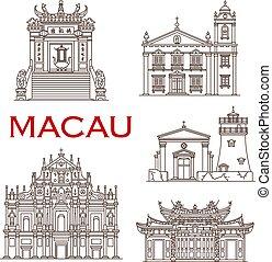 Los monumentos de Macao. iconos de arquitectura asiática