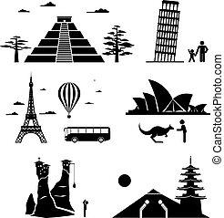 Los monumentos famosos viajan iconos