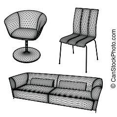Los muebles pusieron una ilustración de vector para el diseño