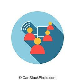Los negocios se conectan entre personas de ícono plano