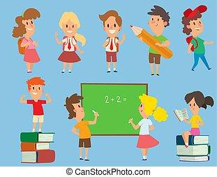 Los niños de la escuela de vectores estudian de nuevo a la escuela de la infancia feliz escuela primaria la ilustración de jóvenes personajes. La educación de los niños y el estudio feliz en la escuela primaria