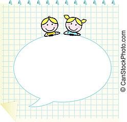 Los niños de la escuela Doodle con Notepad y una burbuja de habla en blanco