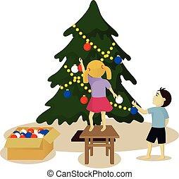 Los niños decoran el árbol de Navidad