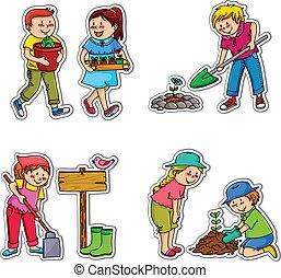 Los niños del jardín