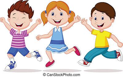 Los niños felices dibujando caricaturas