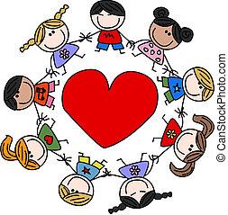 Los niños felices mezclados aman