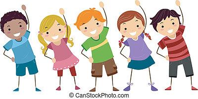 Los niños hacen ejercicio