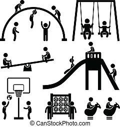 Los niños juegan al parque