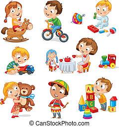 Los niños juegan con juguetes